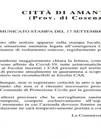 Coronavirus Amantea Comunicato stampa del Comune